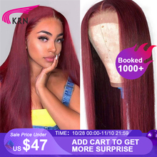 KRN 99J 13x6 Lace Frontal Human Hair Wigs With Baby Hair Straight Remy Brazilian Wigs Lace Frontal Wigs For Woman 180 density