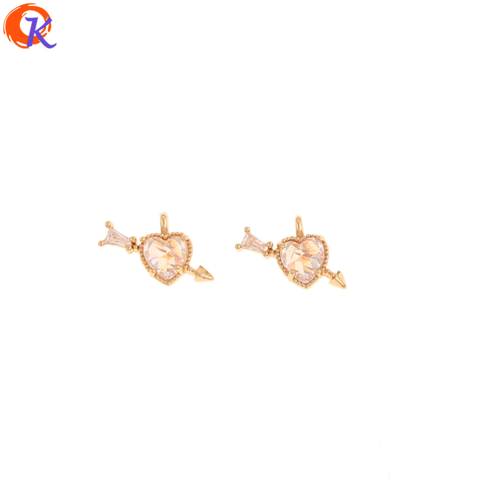 Cordial Design 40Pcs 9*13MM Jewelry Accessories/Hand Made/Genuine Gold Plating/Heart Shape/CZ Charms/DIY Making/Earring Findings