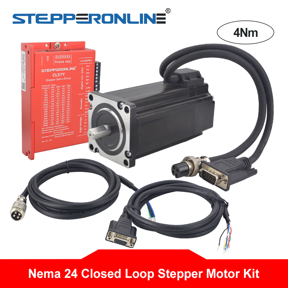 Nema 24 4Nm Kits de moteur pas à pas en boucle fermée 2 phases Nema24 servomoteur 5A + servomoteur et câbles d'extension 2 pièces