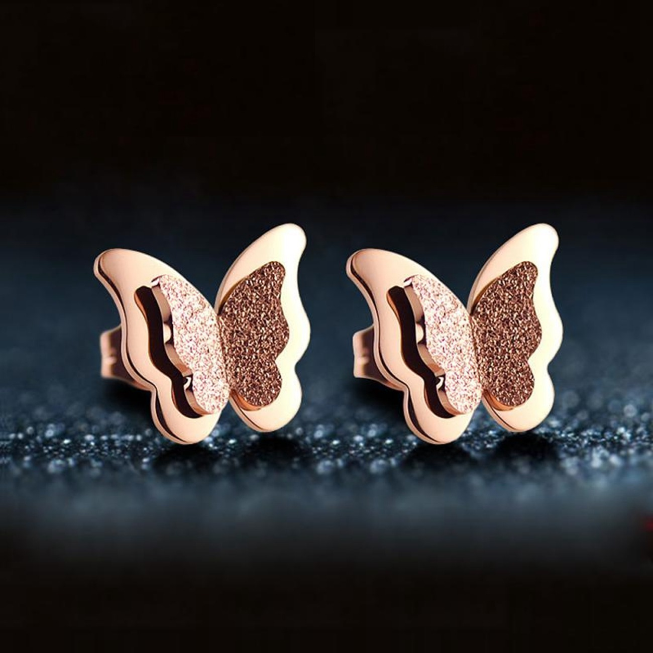 SEVENSTONE Fashion Metal Butterfly Stud Earrings for Women Office Female Womens Stainless Steel Earring In Angel Bling Jewelry