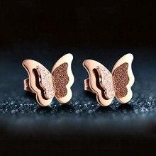 SEVENSTONE Fashion Metal Butterfly Stud Earrings for Women Office Female Womens Stainless Steel Earring In Angel Bling Jewelry