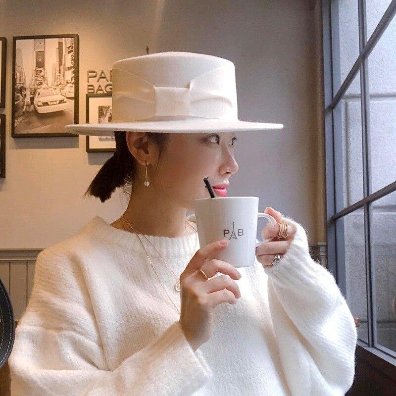 Women's Retro Bow White 100% Woolen Top Hat Female Foreign Trade Wide Brim British Wild Felt Wide Ribbon Decoration Beanie Hats