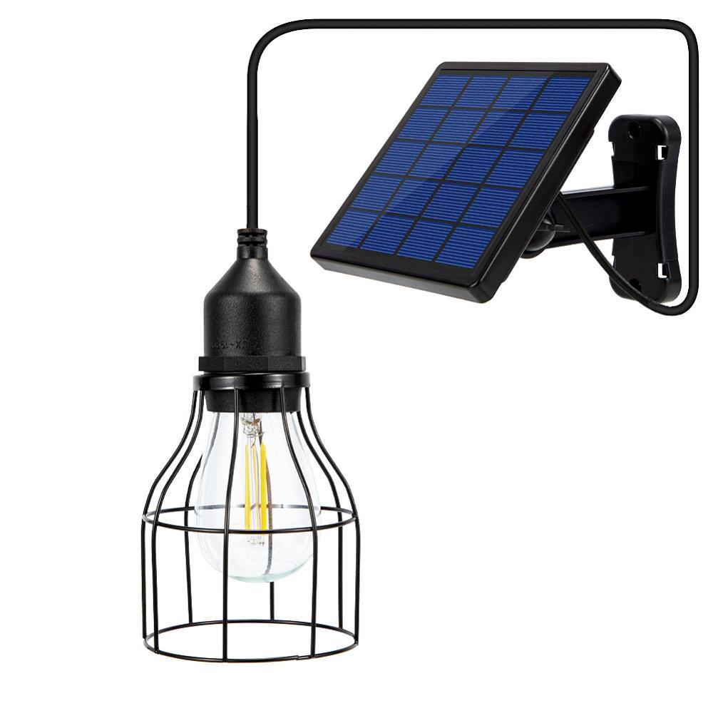 Garden Solar Light Retro Bulb Chandelier Solar Powered Pendant Lights With 9.8FT Cord Lamp With Solar Battery Hanging Lighting