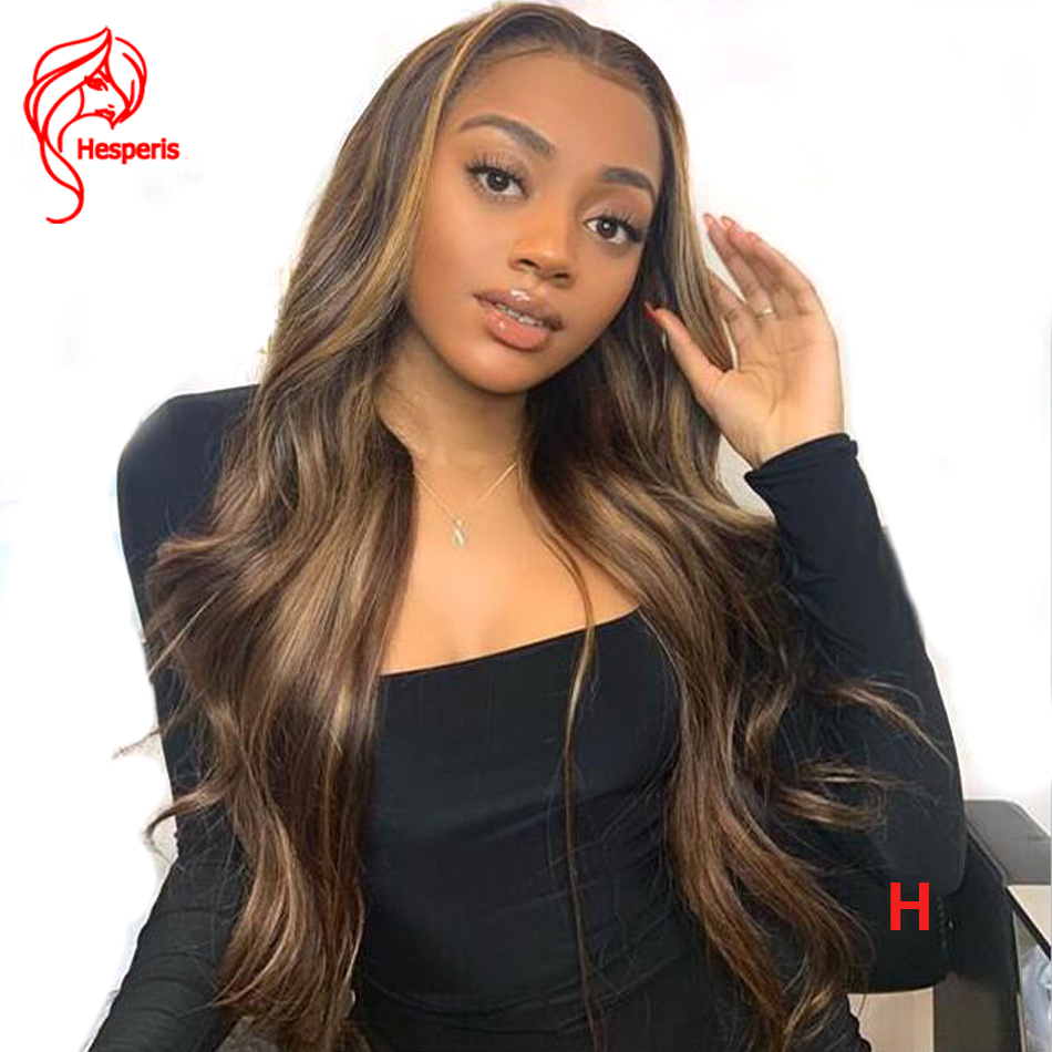 Hesperis 180 Density Highlight Blonde Lace Front Wigs Wavy Brazilian Remy Human Hair Wigs Pre Plucked Colored