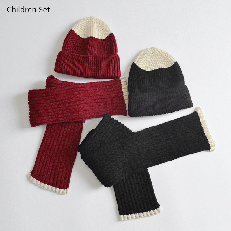 Baby Girls Boy Hat Scarf Set Winter Warm Children Beanie Hat Fashion Patchwork Woolen Yarn Knitted Hats Scarf Kids Two Piece Set