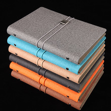 1PC Innovative Design A5 Business 6 Holes loose-leaf Notebook Buckle Elastic Belt Retro High Quality PU 80Sheets Notepad Writing цена 2017
