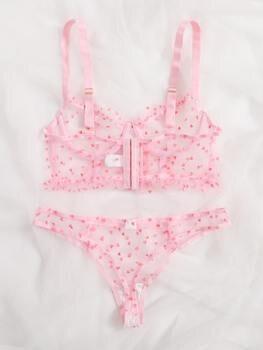 Ellolace Pink Polka Dot Lingerie Set Transparent Women's Underwear Ruffle Bra Set Lace Love Lenceria Lingerie Set For Women 2