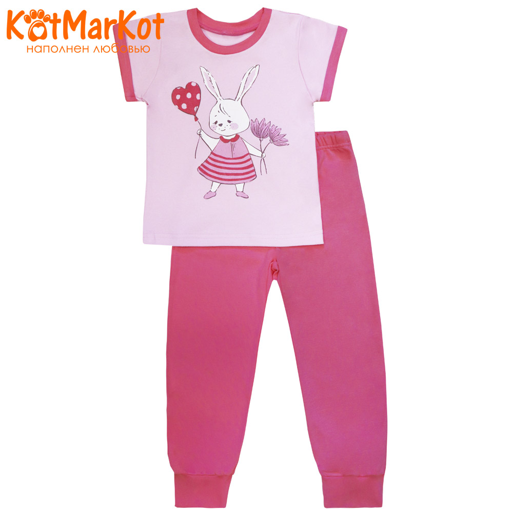 Pajama Sets Kotmarkot 16559 children's pajamas for boys and girls sleep t-shirt and shorts pajama pants Cotton Girls shein kiddie toddler girls letter print jumpsuit and floral print pants and headband long sleeve casual suit for girl sets