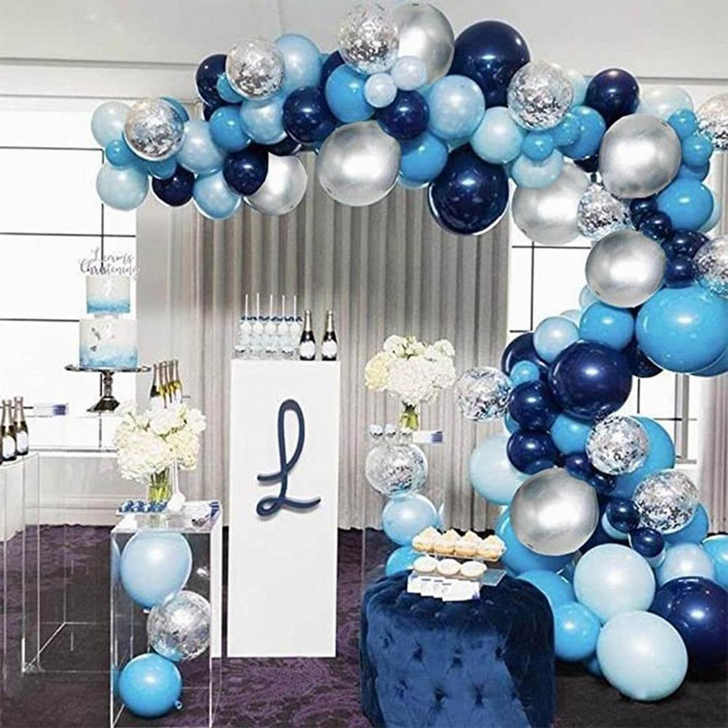 ONE TO FOUR Navy Blue Balloon Arch Kit Silver Confetti Balloons Baby Shower Birthday Decorations Boy Arche Ballon Anniverssaire
