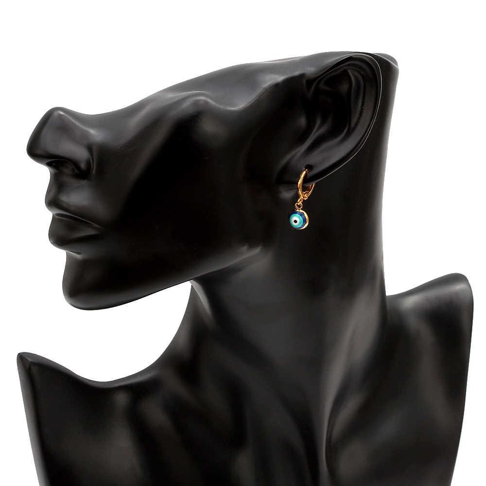Boucles d'oreilles mauvais œil couleur or cuivre pendaison rouge bleu turc oeil boucles d'oreilles mode bijoux pour femmes dames EY6456