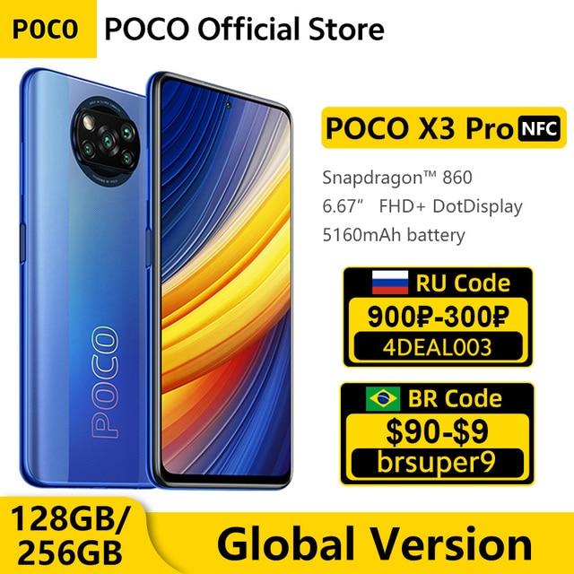 "Global Version POCO X3 Pro 128GB / 256GB Snapdragon 860 Smartphone  NFC 6.67"" 120Hz DotDisplay 5160mAh 33W Charge Quad AI Camera 1"