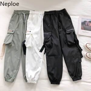 Neploe Women Pants Trouser Lace-Up Big-Pockets Streetwear Hip-Hop Loose High-Waist New-Fashion
