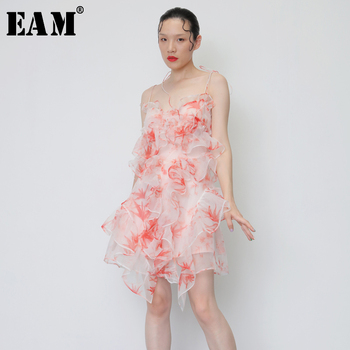 [EAM] 2020 New Spring Summer Strapless Sleeveless Sling Backless Ruffles Stereoscopic Irregular Dress Women Fashion Tide JY082