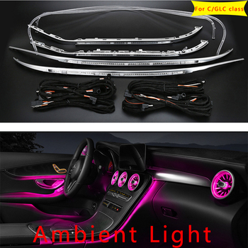 For Mercedes Benz C/GLC class w205 X253 C200L ambient lamp lights for illuminated car Styling 3/12/64 colors LED ambient light