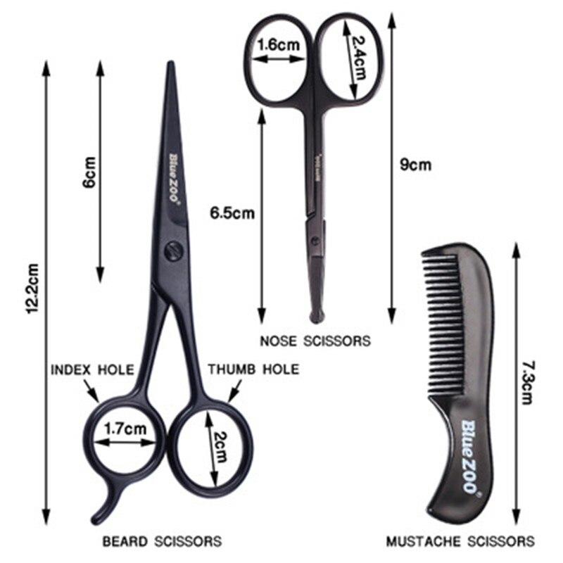 3pieces kit barba bigode scissor pente conjunto 01