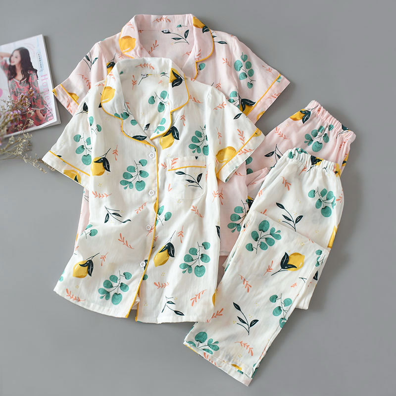 Japanese Kimono Summer Pajamas Ladies Yukata Short-sleeved Trousers Cotton Gauze Cardigan Thin Section Homewear Suit Traditional