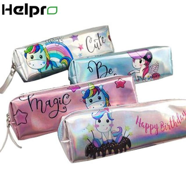 Helpro LOL láser unicornio estuche para lápices calidad PU suministros escolares pencilcase papelería regalo lindo estuche para lápices