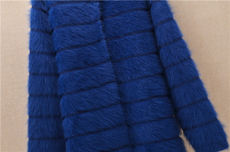 Image 3 - Top mujer women thick warm medium long stripes angora rabbit fur  knitted cardigan long sleeves sweater mink cashmere coat  winterCardigans