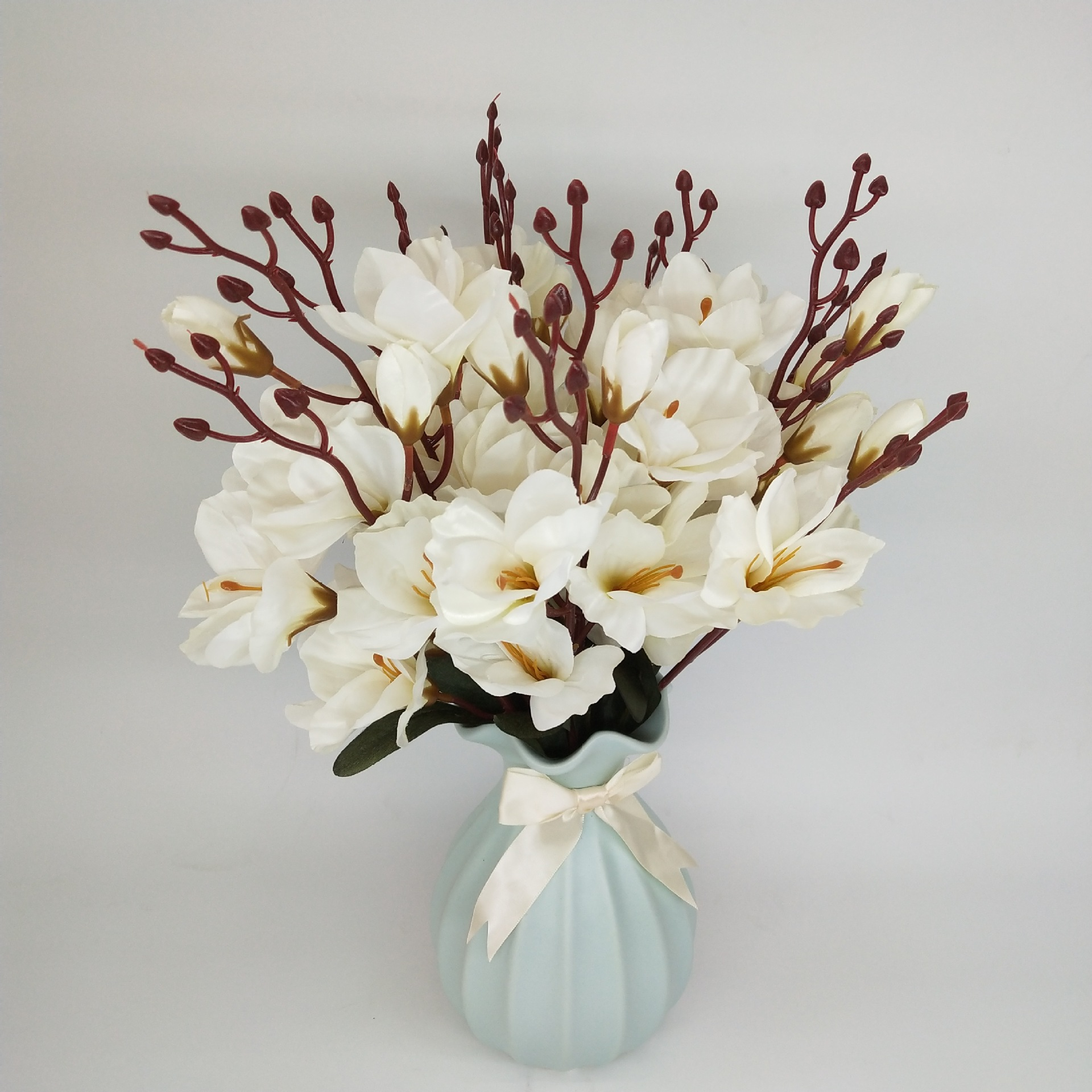 1 Bouquet Simulation Magnolia Flower Snow Orchid Freesia Home Indoor Wdding Decoration Artificial Flowers Fake Silk Plant Flower