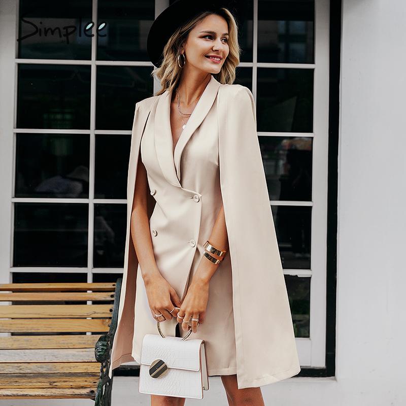 Simplee Vintage mantel blazer frauen kleid Büro damen v hals schal ärmelloses kleid weibliche Solide promi party kleid vestidos