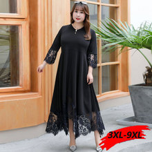 купить plus size lace dress sexy party dress long sleeve 3XL 6XL 9XL black maxi large fall dresses for women vestidos long sleeve 2019 по цене 1771.57 рублей