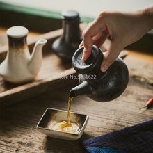 Japanese Style Ceramic Retro Black Soy Sauce Pot Small Vinegar Pot with Lid Sauce Jar Bottle Tableware