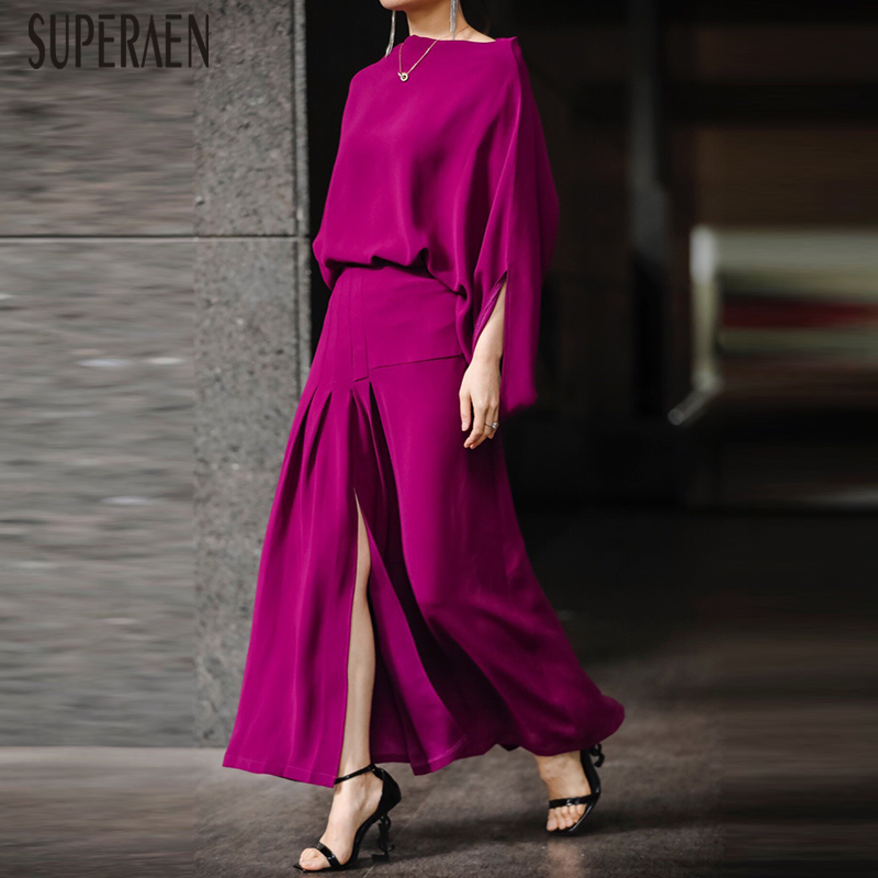 SuperAen Europe New 2020 Spring Women's Sets Temperament Three Quarter Sleeve Tops Solid Color Cotton Long Pants Two Pieces