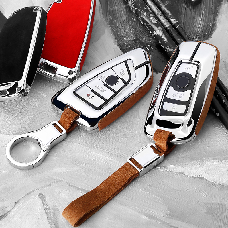 Suede Leather Smart Car Key Case Shell For BMW G30 X1 X3 X5 F07 F11 F15 F20 F31 F48 E90 E36 Auto Protection Key Cover Accessorie
