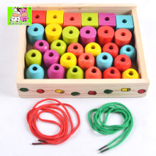 Hand-threaded Beaded building blocks for children DIY wooden toys for parent-child interaction in early childhood education early childhood caries in tirana albania
