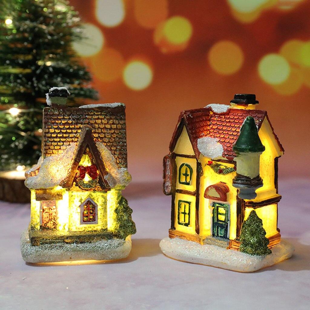 Рождественская сцена деревенские дома город с теплое белое светодиодное освещение на батарейках Рождественские украшения подарки на праз...