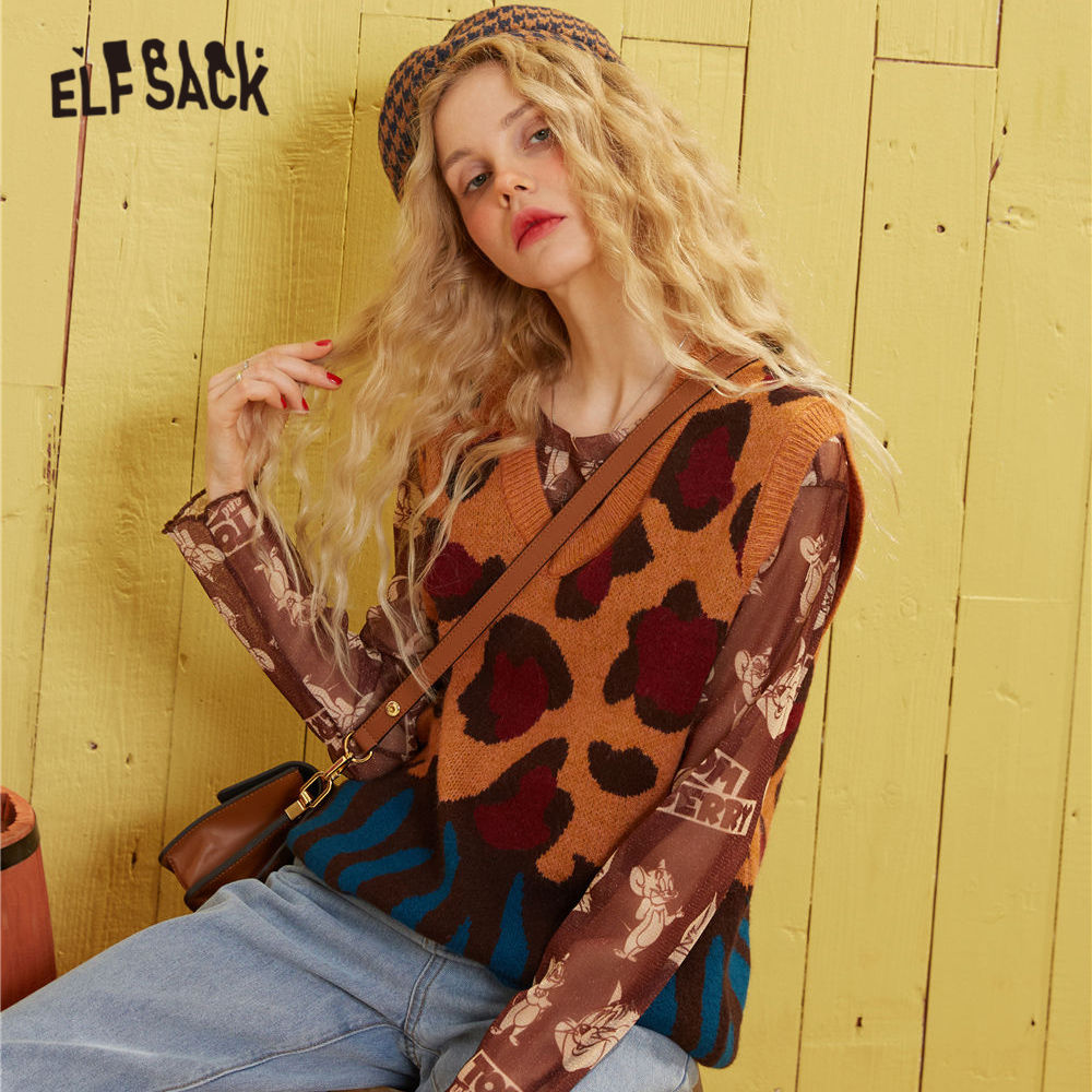 ELFSACK Leopard Print Knit Pullover Women Sweater Vest 2020 Spring New Colorblock V Neck Sleeveless Ladies Casual Daily Tops