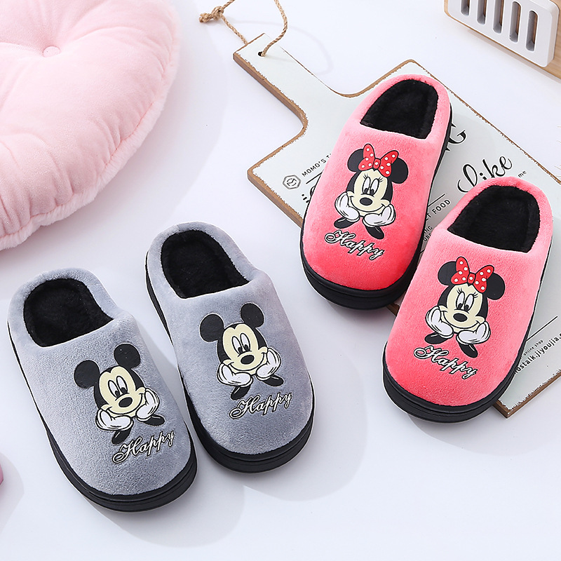 Disney Cartoon Mickey Autumn And Winter Cotton Slippers 2019 New Minnie Cotton ShoesThicken Indoor Non-slip Boy And Girl Baby