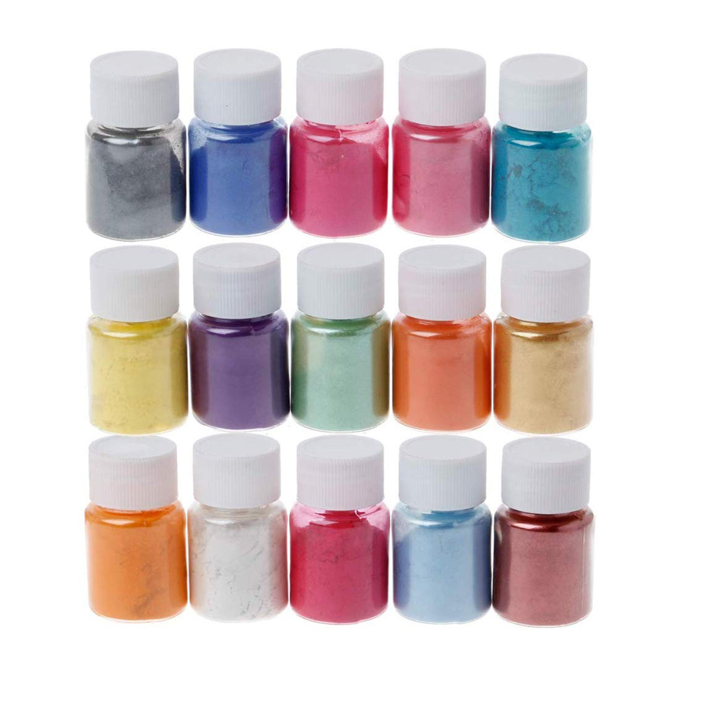 15 Colors Mica Powder Epoxy Resin Dye Pearl Pigment Natural Mica Mineral Powder Handmade Soap Coloring Powder #R10