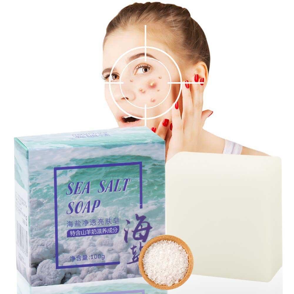 100g Sea Salt Soap Cleaner Removal Pimple Pores Acne Goat Milk Soap Handmade Soap Base Moisturizing Skin Care Face Whitening