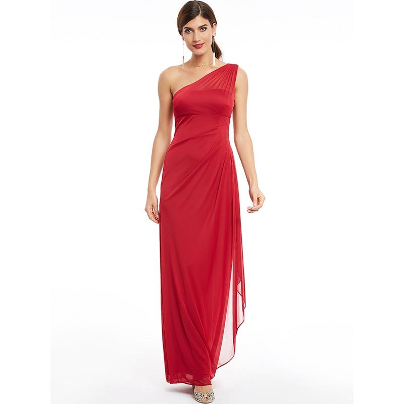 Dressv Burgundy One Shoulder Ruched Long Evening Dress Sleeveless Wedding Party Formal Dress Sheath Evening Dresses