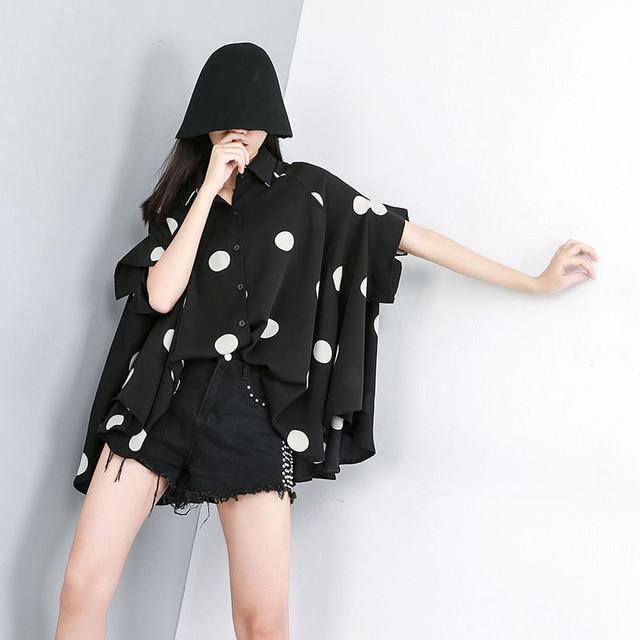[EAM] 2021 New Spring Summer Lapel Half Sleeve Black Dot Printed Loose Temperament Big Size Shirt Women Blouse Fashion JW576 2