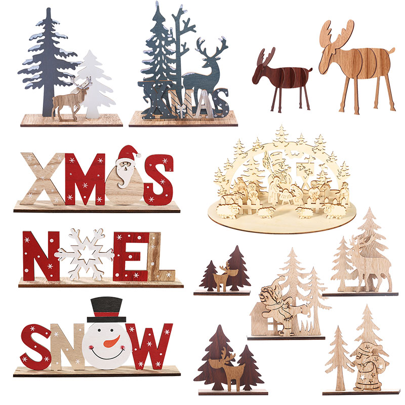Happy New Year 2020 DIY Craft Wooden Elk Ornaments Children's Gifts Noel Christmas Decorations For Home Xmas Tree Wood Ornament