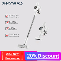 Xiaomi Dreame V10 Cordless Handheld Wireless Vacuum Cleaner 22000pa suction Hand stick Low noise Wall Mounted large battery