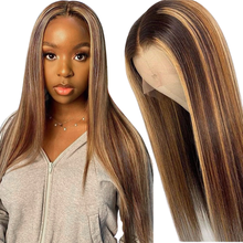 Sapphire 13x6x1 Highlight Lace Front Human Hair Wig Honey Blonde Brown Pre Plucked Brazilian Remy Lace Closure Wigs For Women