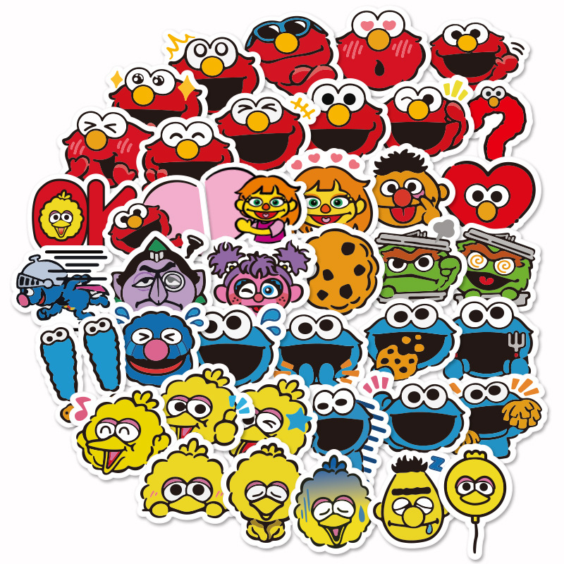 40pcs Mini American Sesame Street Cute Cartoon Stickers Scrapbooking Stickers For Luggage Laptop Notebook Toy Phone F5
