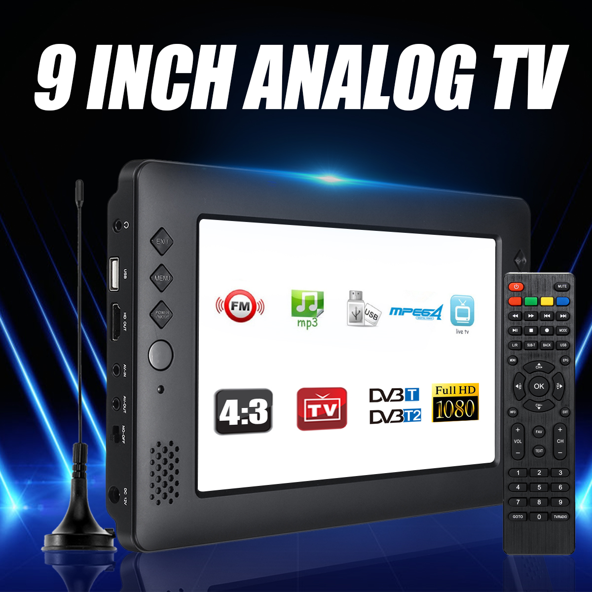 9 Inch Portable Mini TV DVB-T/T2 DTV FM HD 1080P H.265 Digital And Analog Led Televisions Support MP4 AC3 HDMI Monitor image