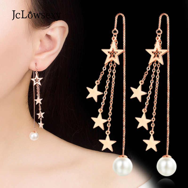 Jclowsexy ใหม่เกาหลีแฟชั่น 925 เงินสเตอร์ลิง Zircon Star Rosegold สีขาวกล่องยาวพู่หูต่างหูไข่มุก