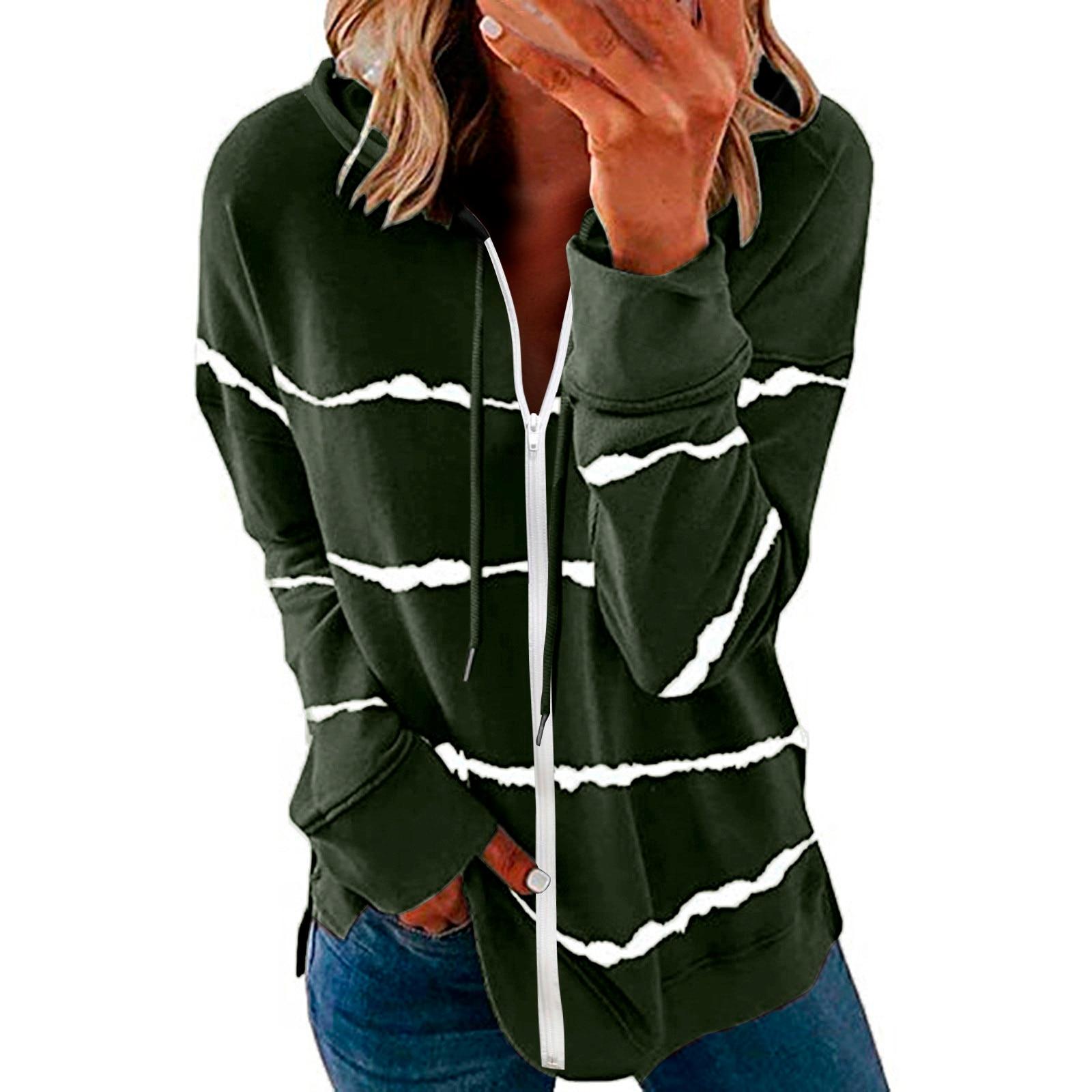40#Womens Hoodie Striped Full Zipper Long Sleeve Lightweight Sweatshirts Spring Elegant Pullover Tee Tops толстовка женская 13