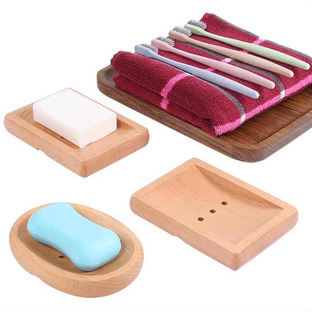 Natural Wooden Soap Dishes Home Bathroom Wooden Soap Case Sink Deck Rectangular Hand Craft For Scrubber Soap Container