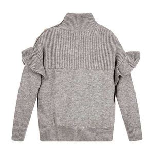 Image 2 - Baby Girl Sweater Ribbed Turtleneck for Girls 2020 Winter Tops Clothes Kids Cardigan Toddler Pullover