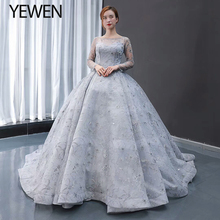 Grey Lange Mouwen Avondjurk 2020 Een Lijn V Terug Prom Partij Jassen Robe De Soiree Lace Up Formele Jurken vrouwen Gown Yewen