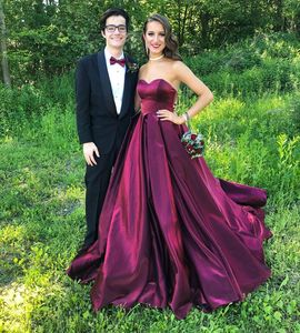 AE762 Sweetheart Evening Dresses Long Ball Gown Lace Up Corset Back Satin Sleeveless Party Formal Gowns Prom Dress