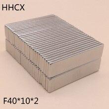 50 יח\חבילה מגנט 40x10x2 N38 חזק כיכר NdFeB נדיר Earth מגנט 40*10*2 neodymium מגנטים עבור moto