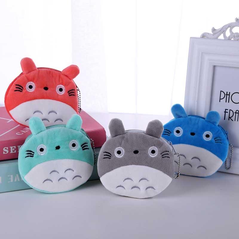 4 Colors Hot On Sale Kawaii Cartoon Totoro Children Plush Coin Purse Zipper Change Purse Mini Wallet Kids Girl Women For Gift