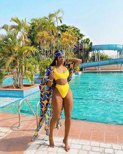 2020 Women Sets Summer Beach Bikinis Set Swimwears Print Top+ panties+Coats 3 Piece Sets Bohemian Swimsuit Bathing Suits GL2045